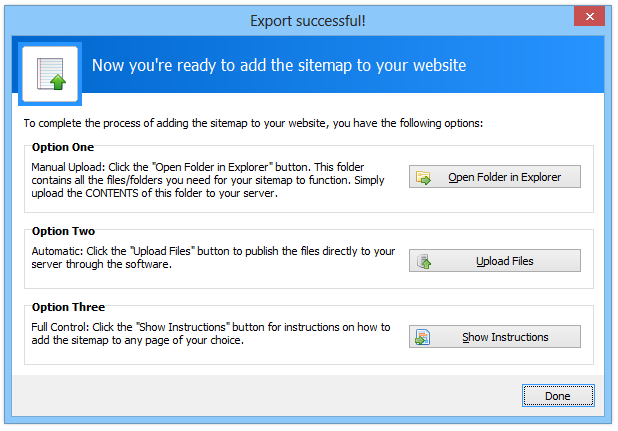 Sitemapper Export Options | CoffeeCup Software