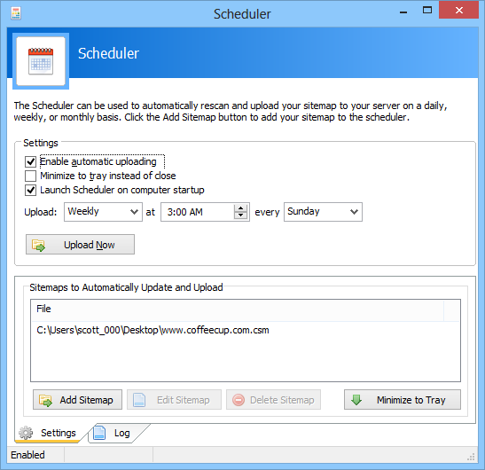 Sitemapper Scheduler | CoffeeCup Software