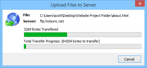 FTP upload progress bar