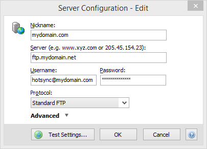 Configure FTP Settings
