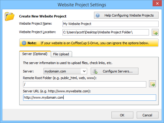 Chapter 2: Working With Website Projects | CoffeeCup Software