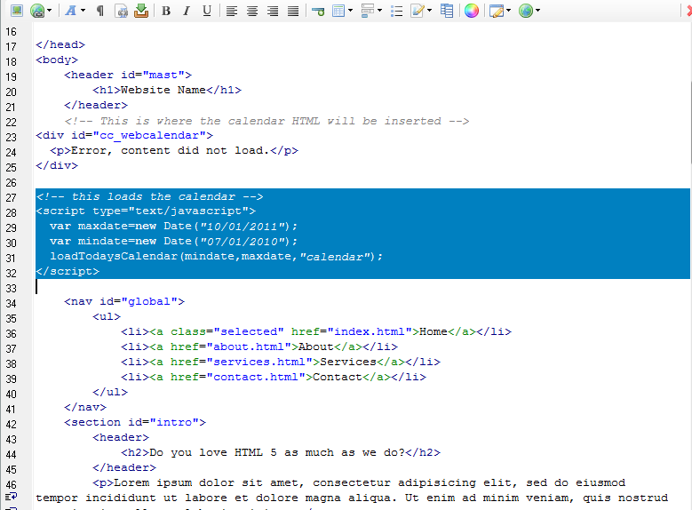 calendar for website html code | Template