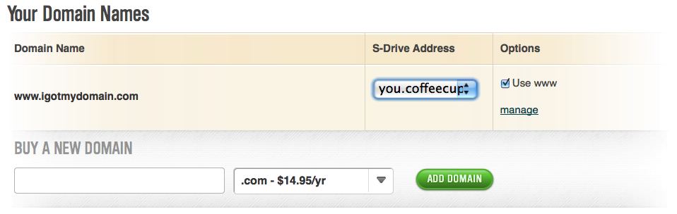 Use Your Own Domain Name For Your S Drive Site Coffeecup Software