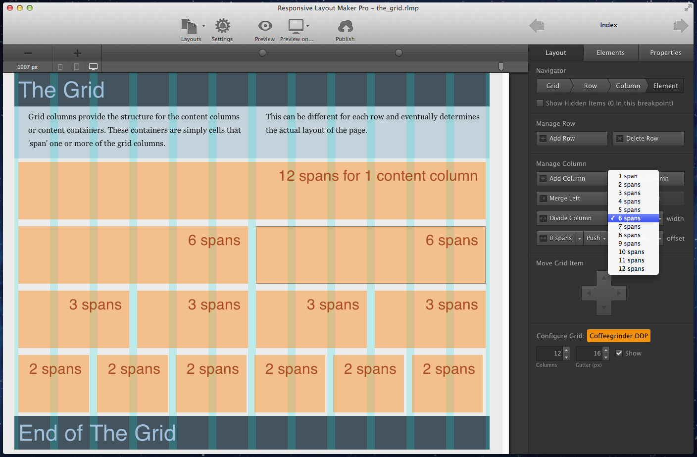 Responsive Layout Maker uses a grid system