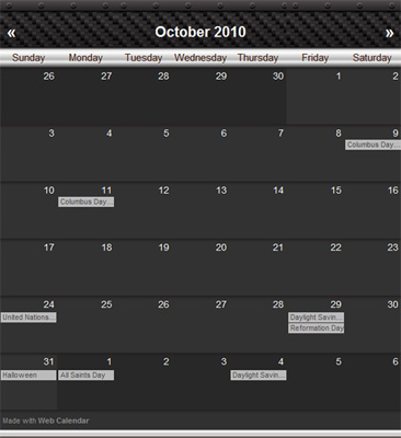 Carbon - Web Calendar Theme