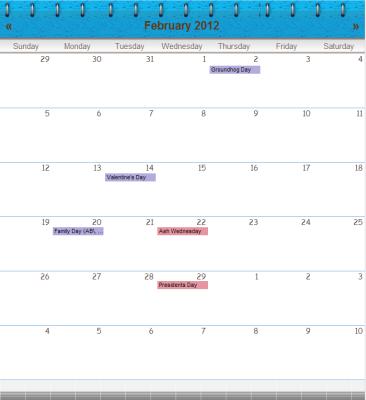 flip blue web calendar theme