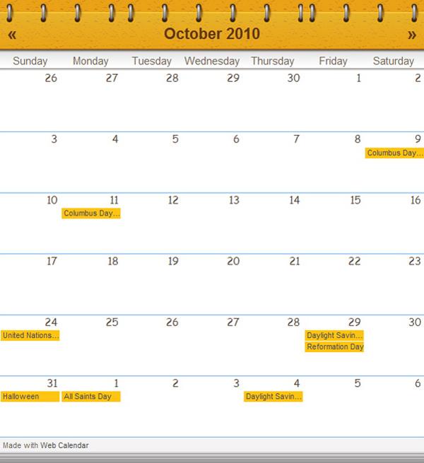 Web Calendar Themes | CoffeeCup Software Store