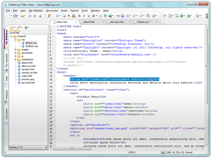 Free HTML Editor 9.8 Screenshot