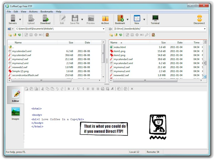 Click to view CoffeeCup Free FTP 4.4 screenshot